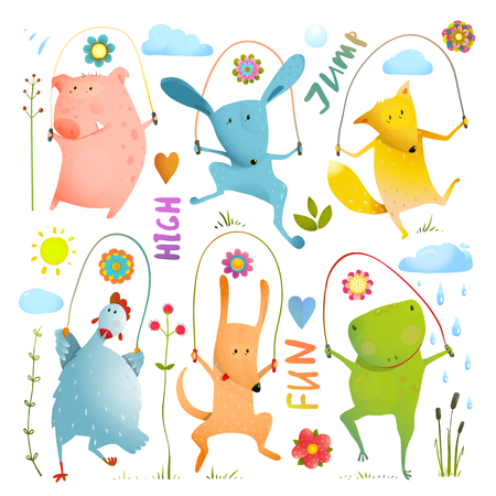 Childish pets skipping watercolor style. Dog and frog, rabbit and pig, hen and fox 일러스트