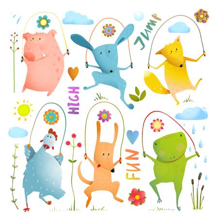 rana caricatura: animales domésticos infantiles saltarse estilo de la acuarela. Perro y la rana, conejo y cerdo, gallina y el zorro Vectores