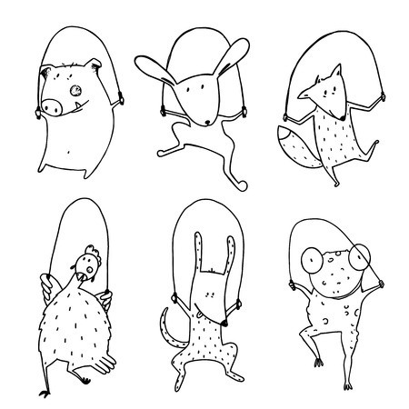 outline bird: Childish pets skipping linear style. Dog and frog, rabbit and pig, hen and fox, cartoon mammal