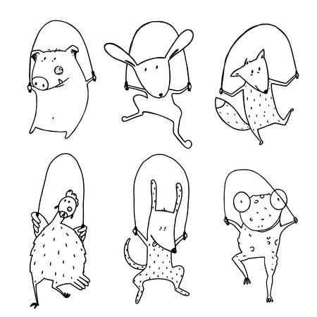 mammal: Childish pets skipping linear style. Dog and frog, rabbit and pig, hen and fox, cartoon mammal