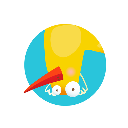 childish: Bird duckling adorable cute childish cartoon circle icon illustration.