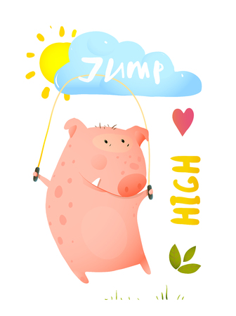 humorous: Pig jumping rope exercising and skipping jumping, humorous character.