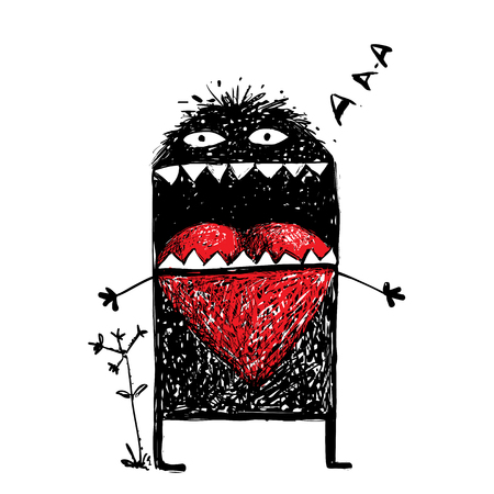 character abstract: Abstract black funny creature, bizarre humorous, creative character.