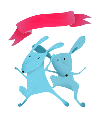 humorous: Hare animals skipping, high jumping, sport humorous training