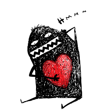 emotional love: Cartoon character with red heart. Cute comic bizarre monster. Illustration
