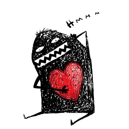 Personnage de dessin animé avec le coeur rouge. Mignon comique monstre bizarre.