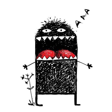 Negro garabato criatura divertida, humorística carácter creativo extraño.