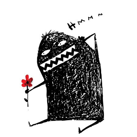 surprising: Cartoon surprising character hand drawn. Cute comic bizarre monster. Illustration
