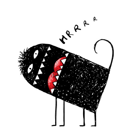 character abstract: Funny black character frightening cartoon cute animal.