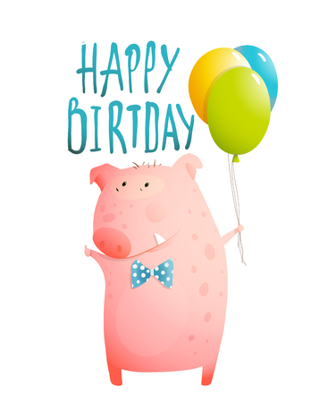 a sign: Pig congratulating with balloons and bow tie humorous character kids design.