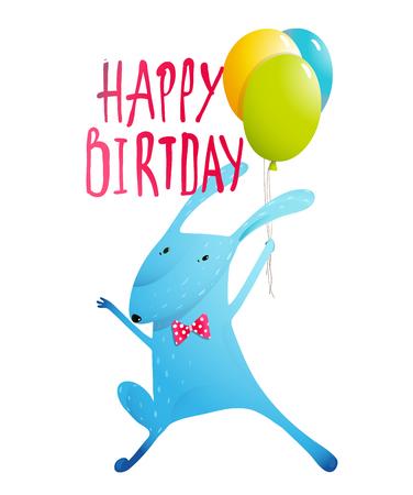 auguri di buon compleanno: Coniglio congratulandosi con palloncini e farfallino divertente disegno bambini di caratteri.