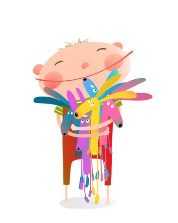 토끼 포옹 작은 아이. 행복 한 아이, 웃는 얼굴, 일러스트와 함께 사랑스러운 아이 일러스트