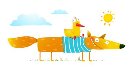 Oiseau et sauvage renard amitié. caractère animal, créature mammifère nature, illustration Vecteurs