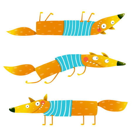 cartoon clothes: Fox animal fun cartoon watercolor style collection. Wildlife mammal brightly colored. Character foxy creature. illustration Illustration