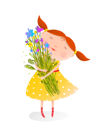 Happy child with a bunch of flowers. Organic nature plant, jolly child face, illustration