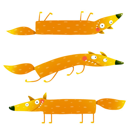 foxy: Fox animal fun cartoon watercolor style collection. Wildlife pet brightly colored hand drawn. Character foxy creature. illustration