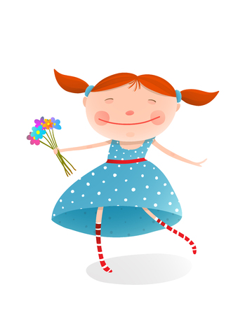beautiful dress: Jolly child with a bunch of flowers. Organic nature plant, smiling kid face, illustration Illustration