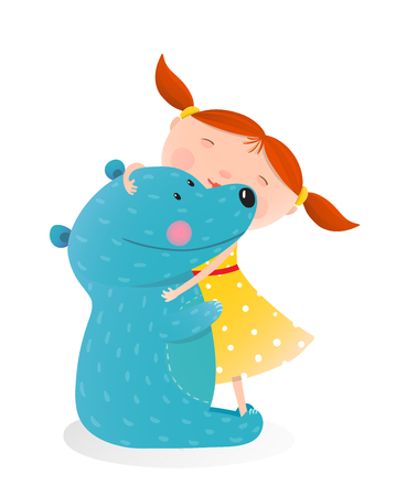 friend hug: Little girl embracing bear. Child with toy teddy, cheerful and smile kid. illustration Illustration