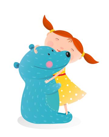 oso blanco: Niña que abraza el oso. Niño con el juguete de peluche, juego alegre y una sonrisa. ilustración Vectores