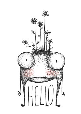 Mutant cartoon creature, character funny comic design, illustration