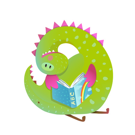 Baby dragon reading book study cute cartoon. Monster for children, funny happy dinosaur drawing. illustration. Иллюстрация