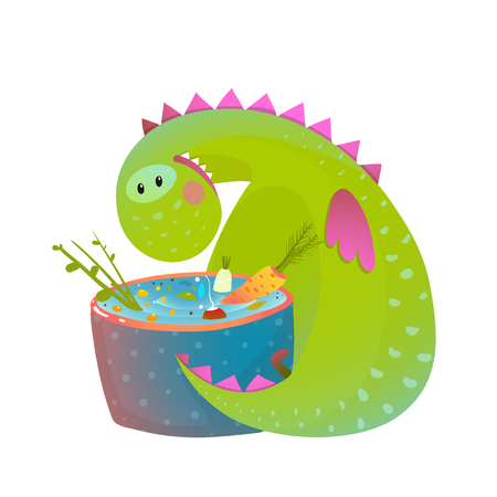 baby dragon: Kids vegetarian baby dragon eating cooking fun cute cartoon. Dinosaur for children, funny happy vegetarian food drawing. illustration.