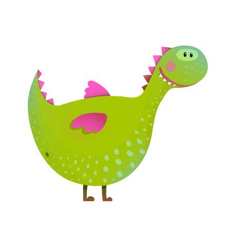 childish: Dragon childish fun cute cartoon. Cartoon monster for kids, funny happy dinosaur. illustration.