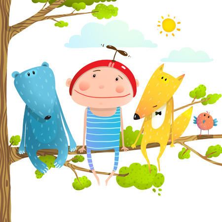 Baby animals and kid childish funny friends cartoon. Child kid and fox, bear cute friendship brightly colored cartoon, illustration