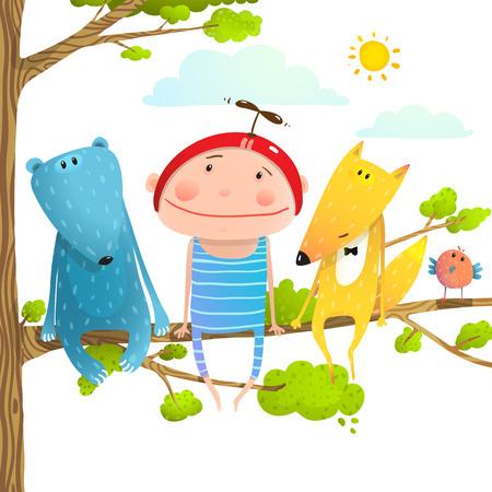 Bébé animaux et dessin animé drôle d'enfant enfantin. Enfant, enfant et renard, ours, mignon, amitié, brillamment coloré, dessin animé, illustration Vecteurs