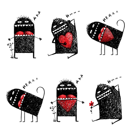 humorous: Character Ugly Eccentric Monster in Love with Red Heart Sketchy. Abstract black funny creature, bizarre humorous, creative character.r illustration