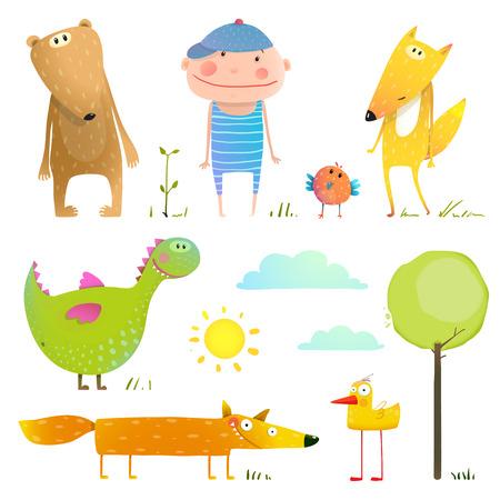 Collection dier en kind. Schattige stripfiguur beer eend vos en dragon. illustratie