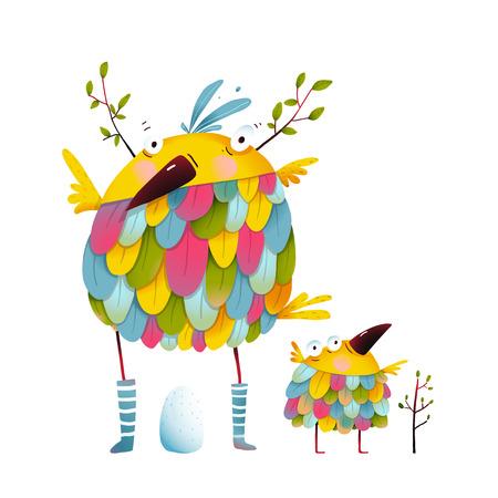 Funny bird family mother and nestling. Bird parent funny love child greeting card design. illustration. Vettoriali