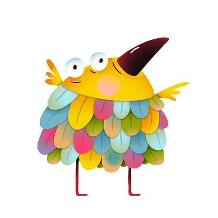 birdie: Amazing brightly colored small birdie. Funny cute child greeting card design. illustration.