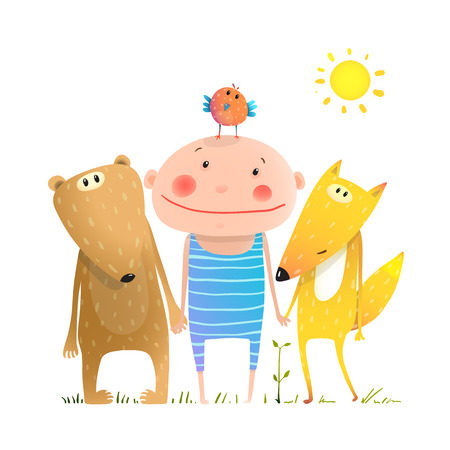 brightly: Kids smiling cute friendship brightly colored cartoon, illustration. Illustration