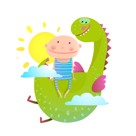 baby dragon: Baby and dragon friendship. Animal funny monster, young kid cheerful, illustration.