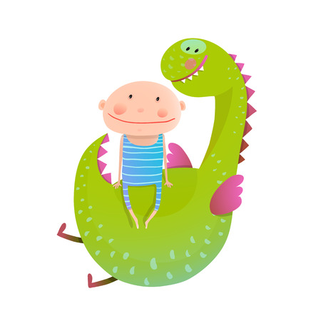 baby dragon: Baby and dragon. Animal cute monster, small kid cheerful, illustration. Illustration