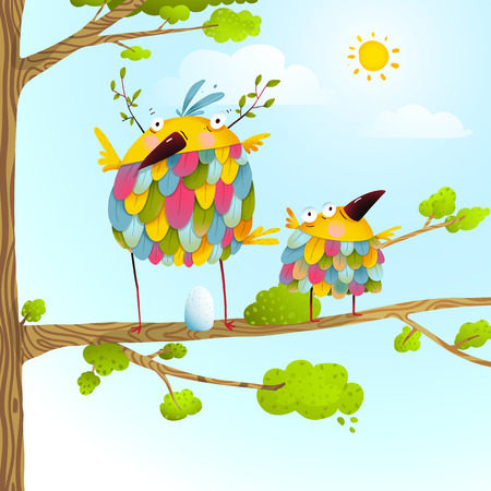 funny love: Colorful bird family mother and child greeting card. Bird parent funny love child wild nature design. illustration.