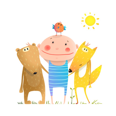 brightly: Kids smiling cute friendship portray brightly colored cartoon, illustration.