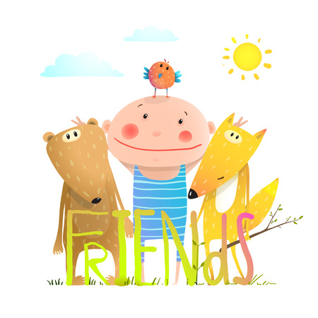 Kids cute friendship brightly colored cartoon, illustration.