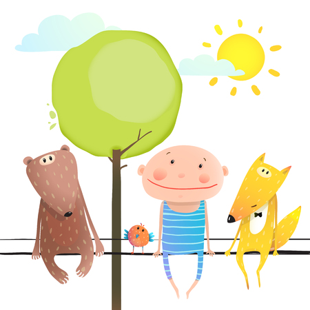 brightly: Child kid and fox, bear colourful friendship brightly colored cartoon, nature sun and clouds. illustration