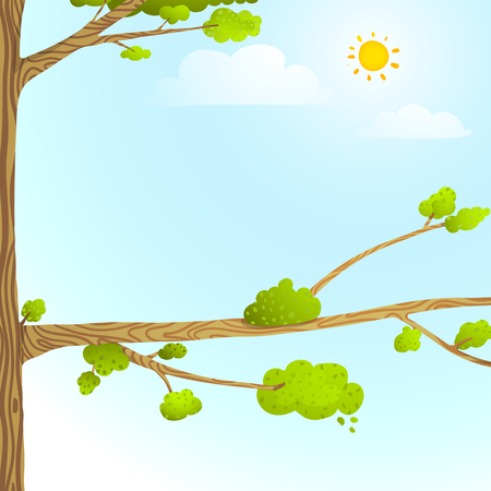 tree branch: Empty wild nature nobody background blue and green with leaves and tree branch for children. Illustration