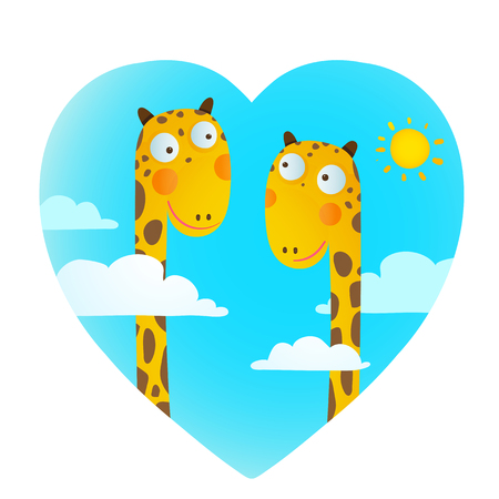 Funny friends love giraffes cartoon in heart shape with clouds and sun background for children. Wildlife childish illustration. Çizim