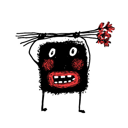 monster hand: Cartoon ugly character grunge hand drawn. doodle Cute comic bizarre monster