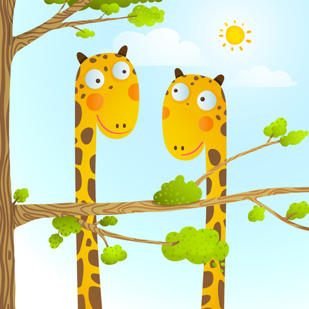 childish: Funny friends giraffes cartoon in nature or zoo with trees background for children. Wildlife childish illustration.