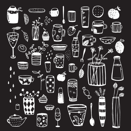 crockery: Crockery and dishware big set of items for designer. cartoon isolated objects.