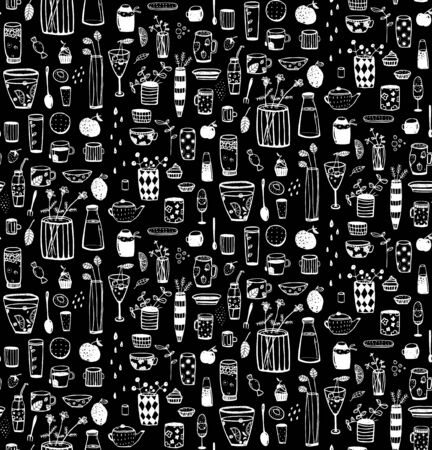 afters: Crockery and dishware  doodle pattern. background. Illustration