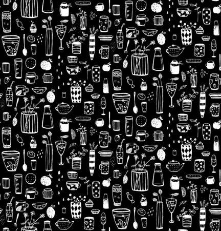 Crockery and dishware  doodle pattern. background. Illustration