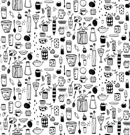 Servies en servies doodle monochrome tegelbaar cartoon patroon. achtergrond. Vector Illustratie