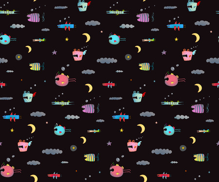 cute cartoon kids: Seamless pattern Fun Cute Cartoon Monsters for Kids Design background. Underwater creatures seamless pattern on black. Illustration