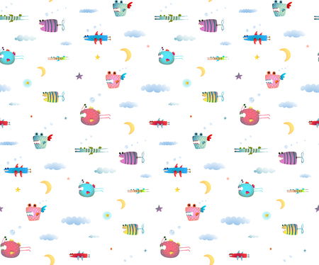 cute cartoon kids: Seamless pattern Fun Cute Cartoon Monsters flying in sky for Kids Design background. Undewater creatures seamless pattern on white. Transparent background.